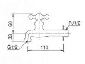 オンリーワン 蛇 口ガーデニング水栓 胴長横水栓