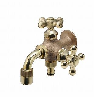 オンリーワン 蛇口ガーデニング二口水栓 二口万能胴長水栓 HV3-FBD-E 鋳肌
