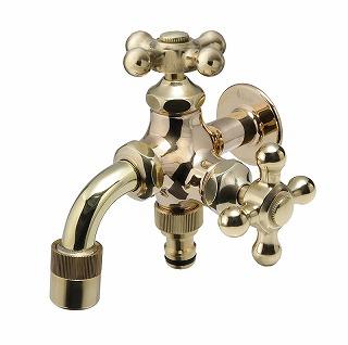 オンリーワン 蛇口ガーデニング二口水栓 二口万能胴長水栓 HV3-FBD-B 研磨
