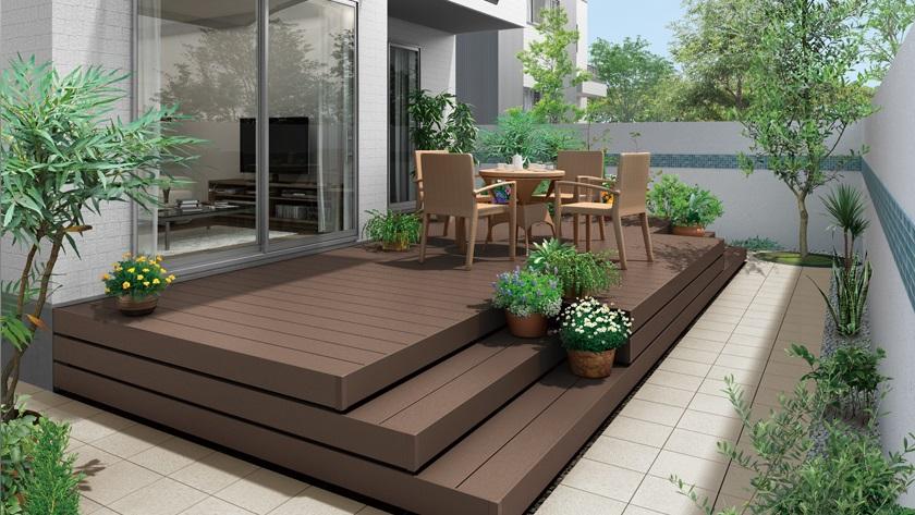 施工イメージ 樹ら楽ステージ ガーデンスペース デッキ LIXIL