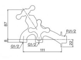 オンリーワン 蛇口 T14型耐寒水栓 二口横水栓