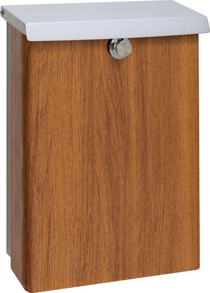シンプルなデザインの木目調のポスト